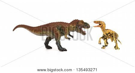 tyrannosaurus and velociraptor on a white background