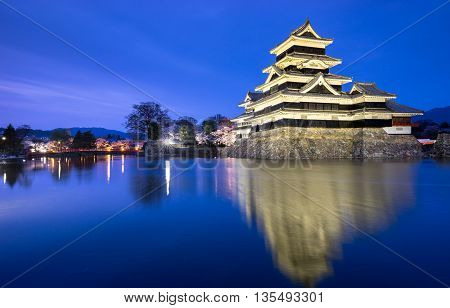 Matsumoto castle at night (spring season) Nagano Japan
