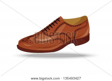 light brown red or yellow oxford shoe. Shoe in retro style