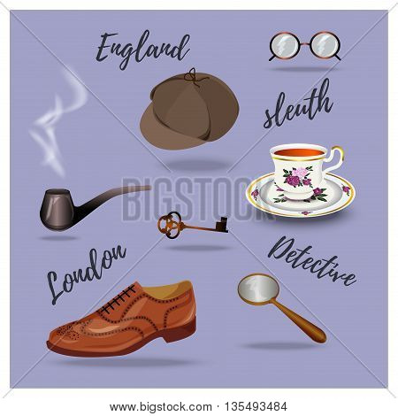 Detective vector set. retro accessories hand drawing