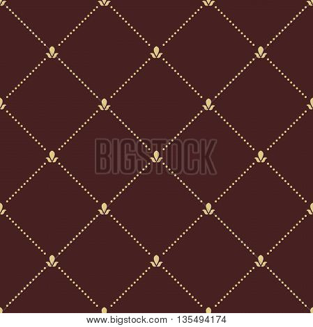 Geometric repeating ornament with golden diagonal dotted lines. Seamless abstract modern pattern
