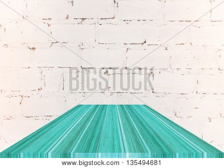 Blue wooden top on white brick background stock photo