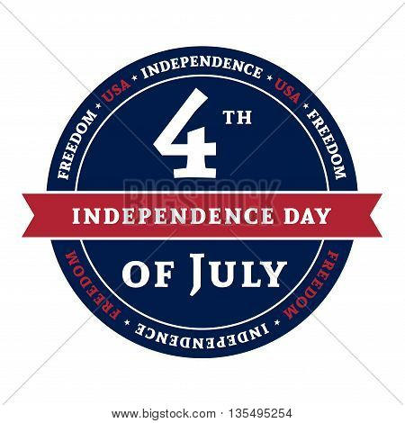 Symbol for American 4th July holiday Independence Day celebration. Patriotic Typography Graphics. National printing design. Fashion Print sportswear apparel t shirt card banner Vector illustration