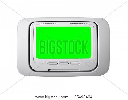 Airplane seat back television isolated with chroma green screen insert.