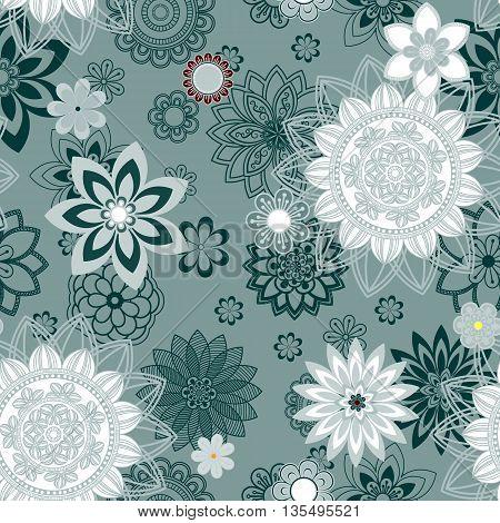 Mandala pattern floral elements decorative ornament. Seamless pattern background. Arab Asian ottoman motifs. Vector illustration