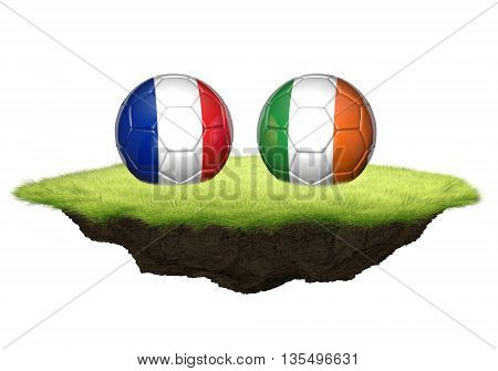 France vs Ireland team balls for football championship tournament, 3D rendering
