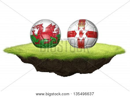 Wales vs Northern Ireland team balls for football championship tournament, 3D rendering