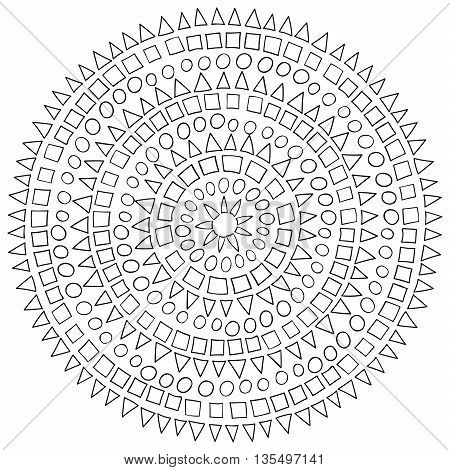 Ethnic circle with high details. Adult antistress coloring page. Black white hand drawn doodle with african ornament. Sketch for tattoo, poster, print, t-shirt in zentangle style.