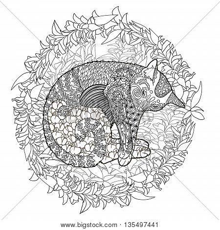 High detail illustration in zen tangle style. Adult coloring page for antistress art therapy. Sleeping cat in the grass. Template for t-shirt, tattoo, poster or cover. Vector illustration.