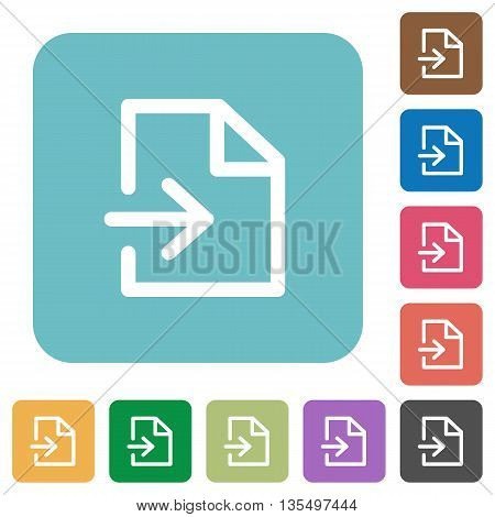 Flat import icons on rounded square color backgrounds.