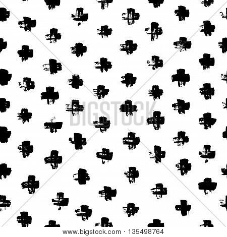 Seamless pattern with hand drawn cross. Ink illustration. Modern graphic pattern. Hand drawn ornament for wrapping paper. Dry brush illustration. Texture with crosses or pluses.