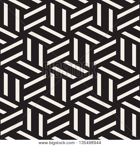 Vector Seamless Black And White Rectangle Lines Geometric Pattern. Abstract Geometric Background Design