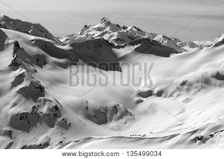 Black And White View On Snowy Peaks