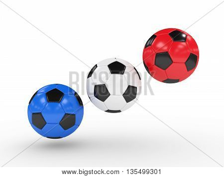Three 3D Rendered Football Balls Over White
