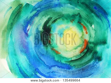 Abstract colorful watercolor background. Ink illustration. Dynamic blots. Hand drawn backdrop for your design. Blue and green watercolor background for textures and backgrounds
