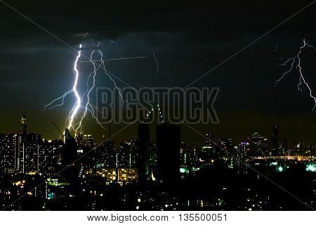 Thunder storm lighting bolt on the horizontal sky and city scape