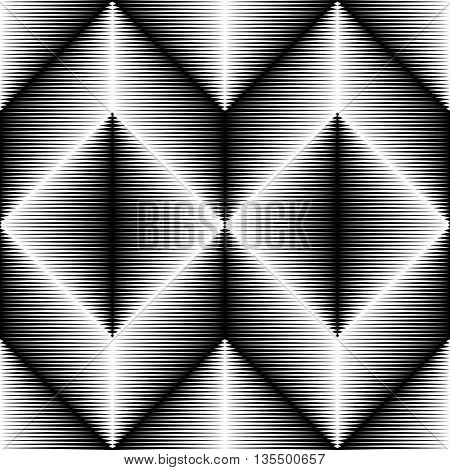 Seamless Rhombus and Stripe Pattern. Vector Monochrome Background
