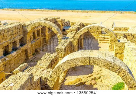 The ruins of the ancient Roman villas located in the seaside neighborhood in archaeological site of Caesaria Maritima Israel.