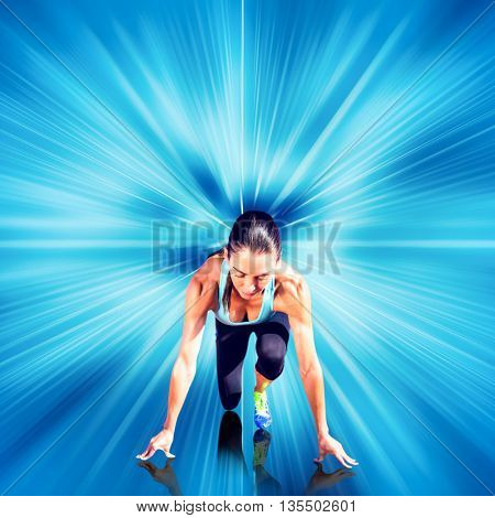 Composite image of sportswoman in the starting block against design background