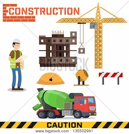 Construction machines builders and house building process. Process of building the house. Engineering measured, architectural work, builders make a house. Vector flat illustration