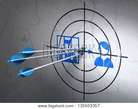 Success law concept: arrows hitting the center of Blue Criminal Freed target on wall background, 3D rendering