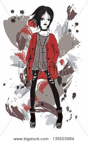 Girl in a grunge style. Black-haired girl on abstract background. Fashion illustration
