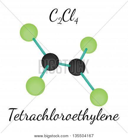 C2Cl4 Tetrachloroethylene 3d molecule isolated on white