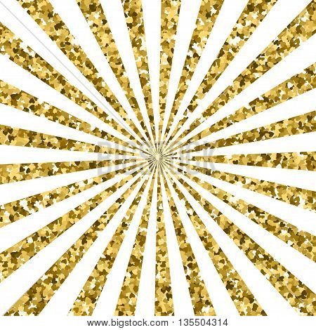 Abstract gold glitter background. sparkles and white rays. EPS