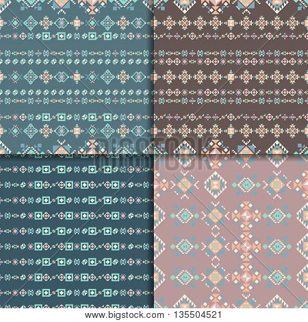 Geometric ethnic seamless pattern set. Aztec geometric backgrounds. Vector ornament