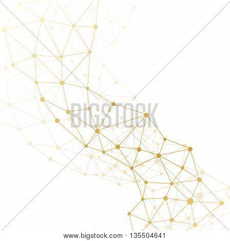 Golden molecule and communication background. Vector illustration.