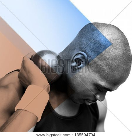 Portrait of sportsman practising shot put against different colors
