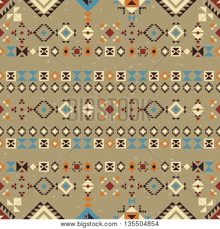 Geometric ethnic seamless pattern. Abstract aztec background