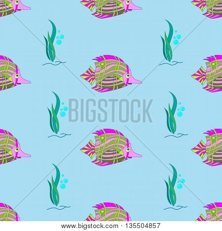 marine fish paintedvector on a blue background