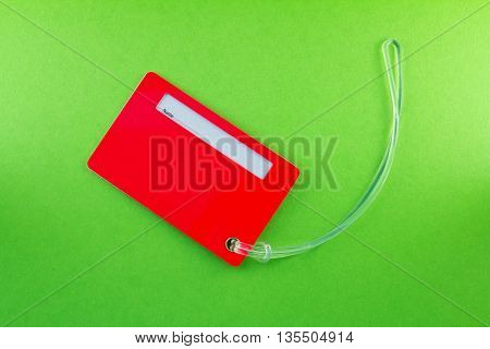 Name Tag for Luggage isolated on green background