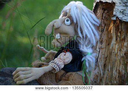 Baba yaga, linked from threads using the hook. On a walk around the wicker fence from twigs