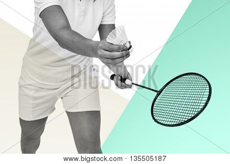 Female athlete holding a badminton racket ready to serve against rosa and white