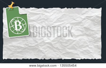 Crumpled paper and globe and bit coin symbol