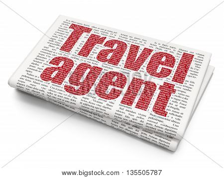Tourism concept: Pixelated red text Travel Agent on Newspaper background, 3D rendering
