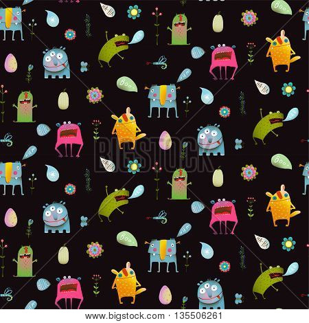 Seamless pattern Fun Cute Cartoon Monsters for Kids Design background. Vivid fabulous incredible creatures design isolated on black.