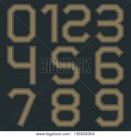 Set of numbers from zero to nine in retro colors vector illustrations.