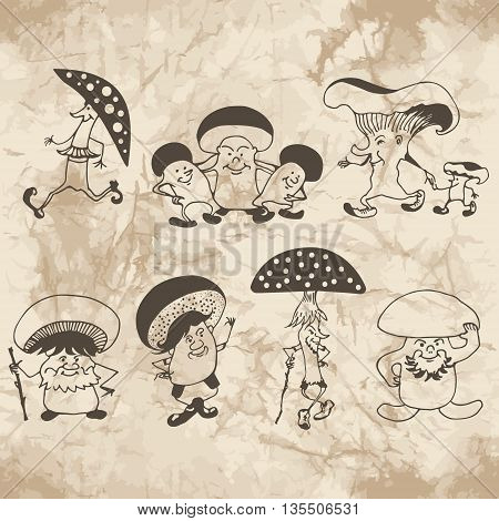 Sketches of mushrooms family and mushrooms friends on the old paper background. Cartoon sketches.