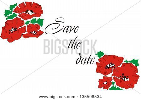 Wedding invitation with poppies. Greeting card with poppies. Invitation. Wedding Card.