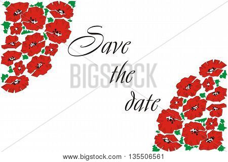 Postcard in the poppies. Greeting card with poppies. Invitation. Wedding Card.