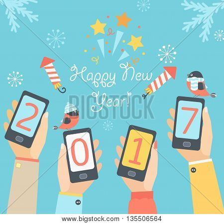 Xmas and New Year holidays design. Flat vector illustration. Concept for mobile apps. Vector illustration.