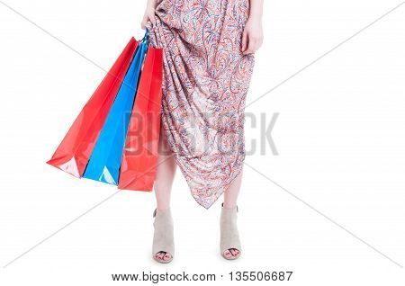 Attractive Young Woman Doing Shopping And Holding Paper Bags