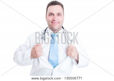 Male Doctor Showing Chest Like Super Hero Shot Concept