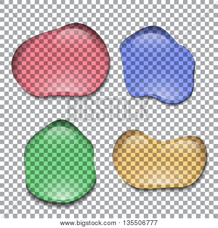 Different realistic colorful transparent water drops. Vector element for your creativity
