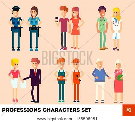 People professionals occupation. Professions Character. Flat Design. Couples at work. Vector illustration. Policeman builders doctors reporters grandparents news anchors.