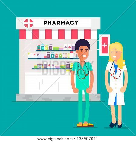 Cool medidicine and pharmacy concept with pharmacy store and two yuong doctors isolated on a specific background. Flat Vector illustration.