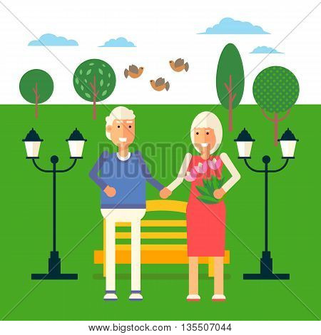Cool vector pension retirement concept illustration with elderly couple standing. Senior age man and woman standing near the bench in the park on background. Retirement recreation concept illustration